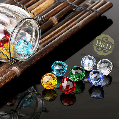 8 Multicolor Glass Crystal Ball Prism Chandelier Lamp Parts Wedding DIY Pendant