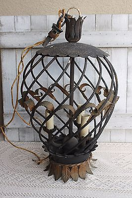 Antique Lighting Wrought Iron Shabby Cottage Chic Metal Architectural Chandelier