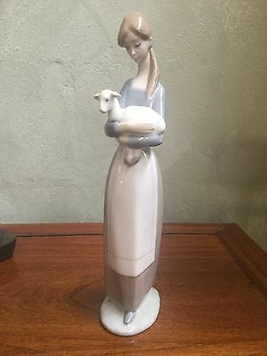 Lladro Retired Figurine; Girl With Lamb #4505, Excellent Condition, ORIGINAL BOX