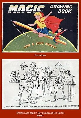 """Early """"MAGIC DRAWING BOOK""""  Charming Children's book (Boy Scouts & Girl Guides)"""