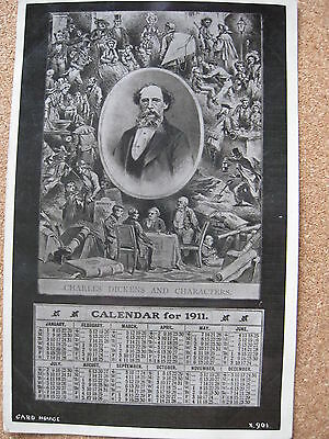 Portrait of Charles Dickens with Characters and Calender for 1911 - posted 1910