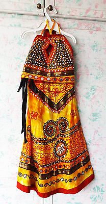 Indian young girl's outfit skirt + top yellow red black with sequins and shells