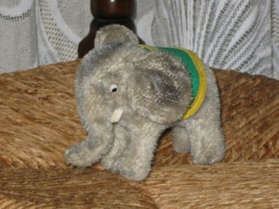 Old Antique Hermann Mohair Elephant with Tusks 10CM Comical Eyes