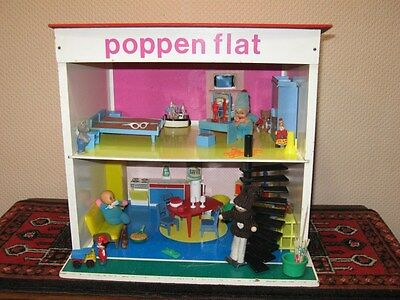 Vintage 1970s SIO Poppenflat Netherlands Small Doll House Condo Flat w Miniature