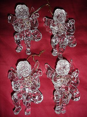 "Christmas Tree ornaments acrylic angel wings mandolin 4 x 3"" NWOT set of 4"