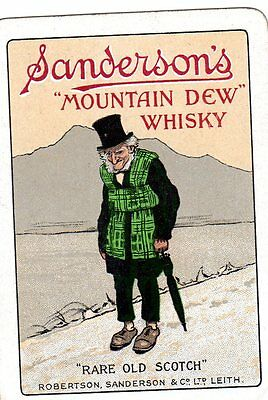 "WIDE RARE VINTAGE ""Sandersons Whisky"" SINGLE Playing Card"