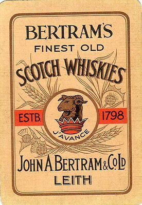 "WIDE RARE VINTAGE ""Bertrams Whisky"" SINGLE Playing Card"