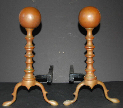 Antique Pair of Brass Federal Style Andirons Attractive Shape and Patina