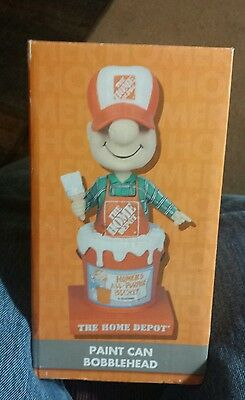 """4  Home Depot Paint Can Bobblehead 8"""" Tall New In Box From 2011"""