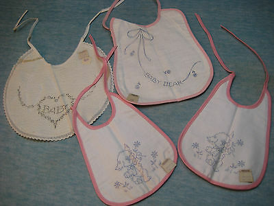 1950s Baby Bibs From Woolworths, To Be Embroidered, Never Used w/ Tags Pink Trim