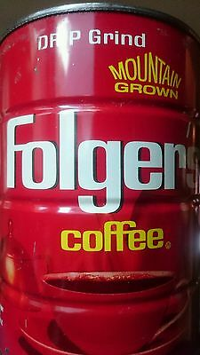 VINTAGE FOLGER'S Coffee Can 1lb coffee tin 1984 AUTOMATIC DRIP Mtn Grown KC MO
