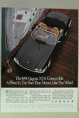 JAGUAR XJ-S CONVERTIBLE Full Page AD magazine clipping 1990