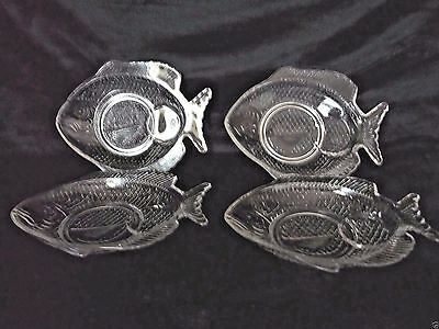 """4 Fish Shaped Salad Appetizer Plates Clear Glass  8"""" Euc"""