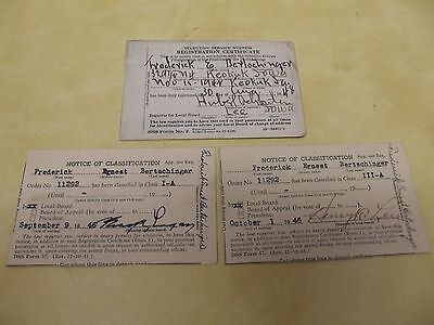 1940's WWII SELECTIVE SERVICE CLASSIFICATION & REGISTRATION CARDS IOWA LOT OF 3