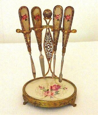 Vintage Petit Point Nail Manicure Set With Stand