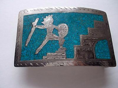 Silver Plate Turquoise  warrior with shield Mexico belt buckle