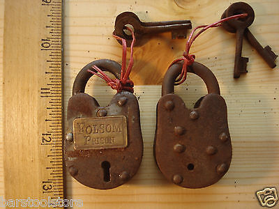 Mini Heavy Cast Iron Folsom Prison Padlock Lock And Keys