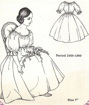 """7""""Period DOLL DRESS PATTERN Victorian German French ANTIQUE / vintage look #4014"""