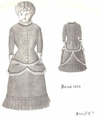 """Period DRESS PATTERN Victorian German French FITS  24"""" DOLL"""