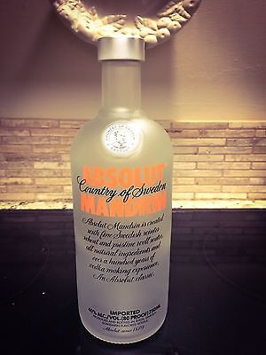 1 BOTTLE Lot Absolut Mandrin Flavored Vodka 750 ml Frosted Glass Empty