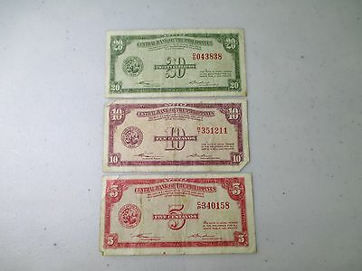 1949 Central Bank of the Philippines 5, 10, 20 Centavos Notes