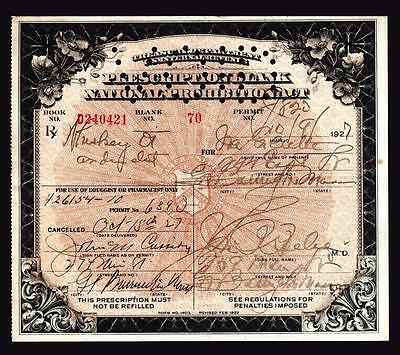 Prohibition Whiskey Prescription Antique Pharmacy Doctor 1927 Bar MA Ira Rx