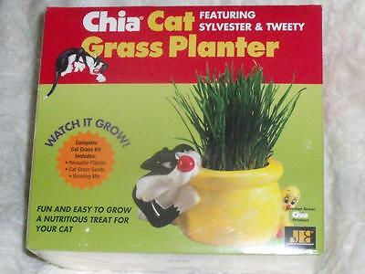 NEW CHIA CAT Looney Tunes SYLVESTER & TWEETY GRASS PLANTER For CATS To EAT
