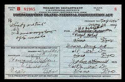 Antique Prohibition Whiskey Prescription Doctor Pharmacy Bar Texas Hotel 1924 Rx