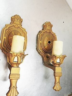 Pair of 2 Antique Art Deco Single Arm Polychrome Wall Sconces Light Fixtures