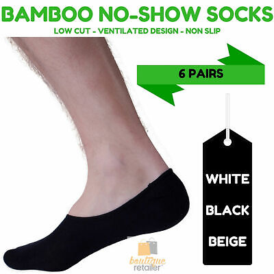 6 Pairs NO SHOW BAMBOO SOCKS Non Slip Heel Grip Low Cut Invisible Footlet New