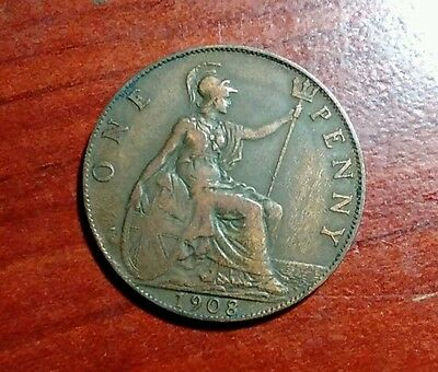 1908 Great Britain Large Penny