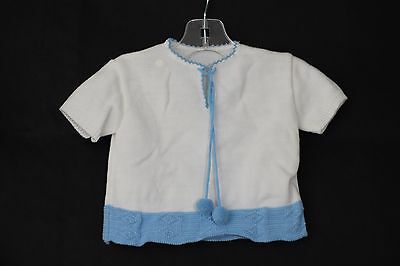 Vintage DRALON Knit Blue and White Sweater Size NB-3 Months