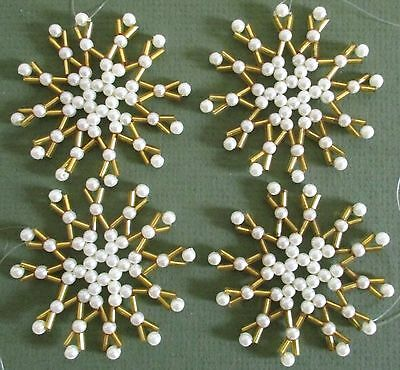 4 Handmade Faux Pearl and Gold Glass Beaded Snowflake Christmas Ornaments.