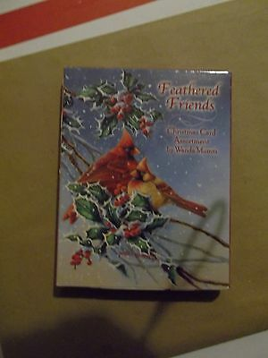 Leanin' Tree boxed Christmas cards Feathered Friends, new in box