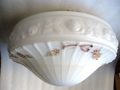 CEILING MILK GLASS VINTAGE FLUSH MOUNT ELECTRIC SHADE Lge