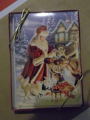 Leanin' Tree boxed Christmas cards Santa with reindeer, new in box