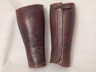 "WWI US Army Moccasins Brand Leather Leggings Puttees 12"" Long"