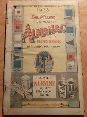 1938 Dr Miles New Weather Almanac & Hand Book Miles Laboratories Elkhart Indiana