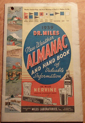 1939 Dr Miles New Weather Almanac & Hand Book Miles Laboratories Elkhart Indiana