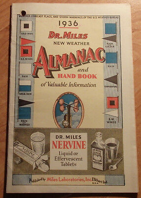 1936 Dr Miles New Weather Almanac & Hand Book Miles Laboratories Elkhart Indiana