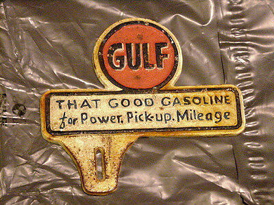 Cast Iron Gulf License Plate Topper Frame Sign Can Oil Gas Pump Globe Map