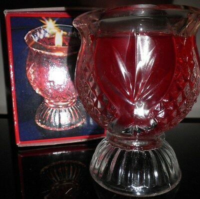 Vintage AVON Clearfire Faceted Glass Red Gel Candle In Goblet Shaped Holder BNIB
