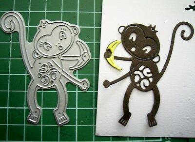 Cute MONKEY with a Banana DIE D753 Tattered Lace Stephanie Weightman - BNIP