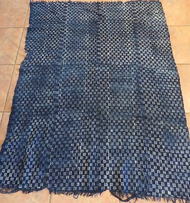 """Vintage African,Dogon Indigo Resist Dyed Fabric/Hand Woven Cotton Strips/37""""x58"""""""