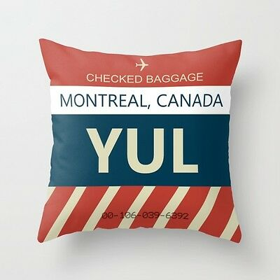 """Montreal Canada (YUL) Baggage Tag - Throw Pillow (16"""" x16"""" With Insert)"""