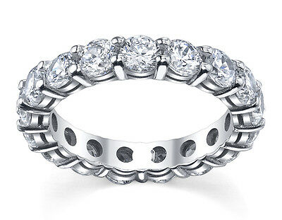 14K Solid White Gold Created Diamond Round Eternity Wedding Band 3Ct