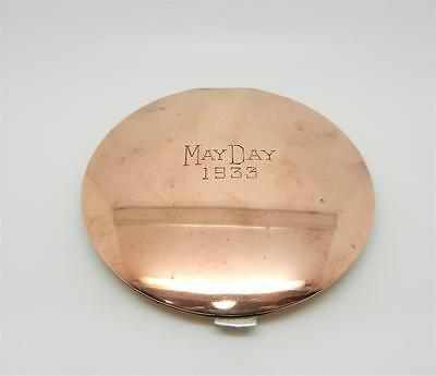 Antique May Day 1933 Solid Copper Mirrored Powder Compact - Very Rare- Lb-C1444