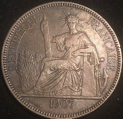 1907 A French Indo-Chine 1 Piastre Silver Coin(座洋)