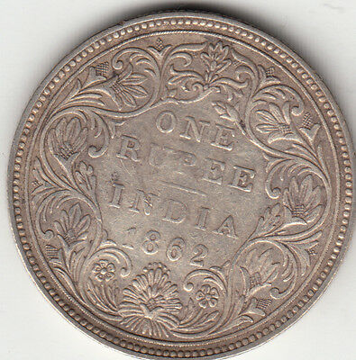1862 British India Queen Victoria One Rupee Silver Coin With 6 Dots  Lot Ee12.