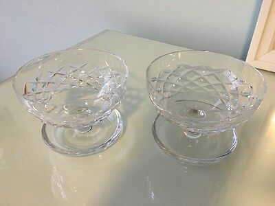 Pair of Cut Crystal Sundae Dishes With Saucer Base